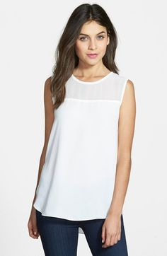 Vince Camuto Sheer Yoke Sleeveless Blouse available at #Nordstrom