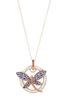 Candela Purple & White Swarovski Crystal Dragonfly Necklace <3
