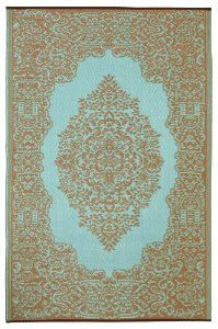 Fab Habitat - 4' x 6' Istanbul Indoor/Outdoor Rug, Fair Aqua and Warm Taupe