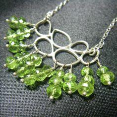 Green Peridot Leaves, Silver Chain Necklace - Leila Haikonen Jewellery