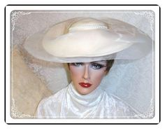 Gorgeous Wide Brimmed White Wool Vintage Hat by by bodaciousjewels