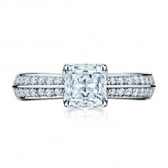 From the Birks Amorique Collection, this platinum pavé diamond engagement ring has one solitaire diamond, the ultimate cushion-shape fancy-cut diamond in a star-shaped pattern of facets to maximize brilliance. Offered in a wide range of carat weights,0.50 to 0.59 carats, colour GH and clarity VS. Handcrafted with Canadian diamonds. #BlueBox via @MaisonBirks