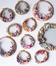 Olga Prinku uses dried flowers woven into wreaths. I was drawn to her work becau. - Ezgi Karahan - - Olga Prinku uses dried flowers woven into wreaths. I was drawn to her work becau. Embroidery Hoop Art, Ribbon Embroidery, Floral Embroidery, Embroidery Designs, Dried Flower Wreaths, Dried Flowers, Fleurs Diy, Satin Stitch, Flower Crafts