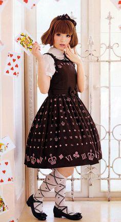 A cute brown classic lolita dress.