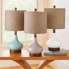 Our shapely Riley Table Lamp elegant lines curve with modern prettiness, to brighten any room. Created in softly hued, glossy ceramic, this lamp    can work easily in a modern space. It also looks adorably feminine on a hall table, a bedroom side table, or anywhere you place it to add a warm glow. A    lovely style for a chairside table, it affordably priced, too it an ideal lamp to use in balanced pairs.            Sleek, shapely table lamp                Ceramic with a glossy finish    ...
