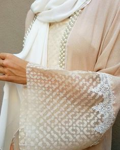 Blush pink Linen Abaya with beaded embellishments
