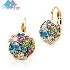 Miss Lady summer jewelry Gold Plated Crystal Simulated sapphire-jewelry Round drop earrings jewelry earrings for women MLY5130