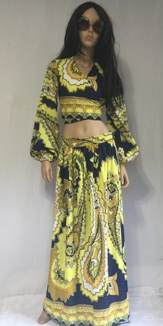 Vintage 70s Psychedelic Maxi Skirt and Wrap by GypsysClosetVintage