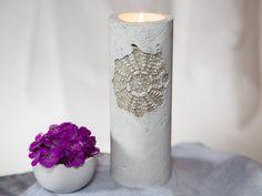 Hochzeitskerzen & Beleuchtung - Shabby Chic Kerzenständer aus Beton - ein Designerstück von Schmueckglueck bei DaWanda