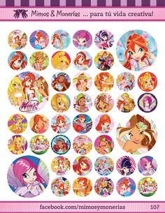 """Winx Bottle Cap Images 1"""" - Digital Collage Sheet 8.5x11"""" - Hair Bow Centers, Magnets, Stickers and Crafts - INSTANT DOWNLOAD"""