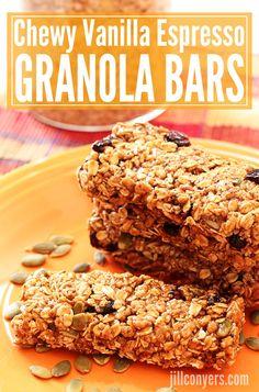 Chewy Vanilla Espresso Granola Bars jillconyers.com