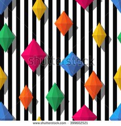 Multicolor diamonds, gems on black white stripes, seamless pattern. 3d vector shapes. Abstract universal background. Design for fashion textile print, wrapping paper, web background, package.