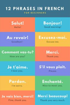 12 phrases in French for beginners// 12 phrases en français pour les débutants Common French Phrases, Basic French Words, Italian Phrases, Useful French Phrases, French Expressions, French Language Lessons, French Language Learning, Learn A New Language, French Language Basics