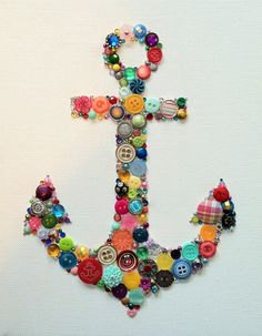 Multicolored Nautical Anchor Buttons  Custom Wall Art. (So cool :D)