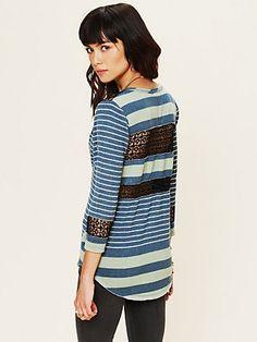 Stripe Crochet Tee  http://www.freepeople.com/whats-new/stripe-and-crochet-tee/