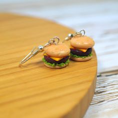 Hamburger Earrings, Hamburger Studs, Polymer Clay Food, Hamburger Jewelry, Food Earrings
