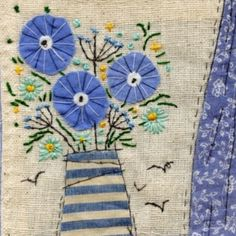 A little detail in my sea view picture 💙 Hand Applique, Wool Applique, Embroidery Applique, Cross Stitch Embroidery, Embroidery Patterns, Sewing Art, Sewing Crafts, Sewing Projects, Free Motion Embroidery