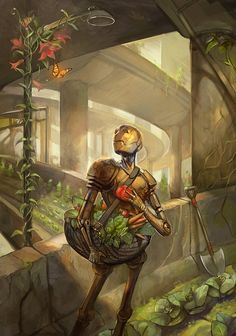 Digital urban fantasy painting by Julie Dillon of a post-apocalypse robot gathering food in a city Arte Robot, Robot Art, Arte Sci Fi, Sci Fi Art, Fantasy Paintings, Fantasy Art, Science Fiction Kunst, Cyberpunk, Urban Agriculture