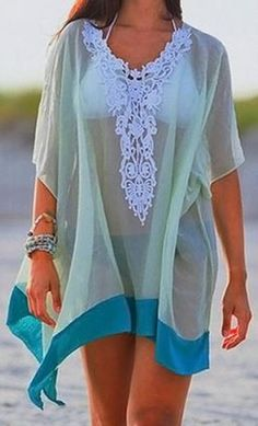 Gorgeous Colors! Teal and Mint Green + White Lace Beach CoverUp