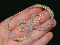 The Sea Shell Earrings - Solid Gold 14K Ethiopian Opal Wire Wrapped Spiral Hoop Earrings, Genuine Welo Opal Earrings #Valltasy #WireWrapped #WeloOpalEarrings #GoldFilled #Solid14K #OpalEarrings #OpalHoopEarrings #EthiopianOpalEarrings #GemstoneEarrings #FireOpalEarrings #SpiralEarrings Id: 26019
