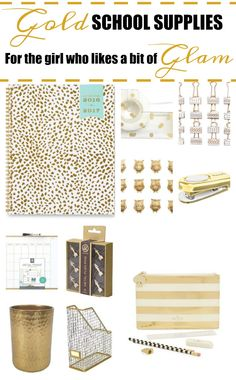 These gold school supplies are perfect for the girl who likes a bit of glam. From Kate Spade pencil pouches to gold Day Designers to keep their schedules organized, you'll find some useful and really pretty supplies to help them kick off the school year feeling good.