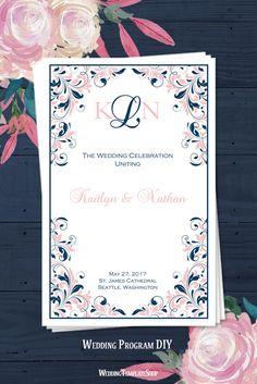 DIY Wedding Program, Blush Pink & Navy Blue Kaitlyn, Printable Order of Service Templates. Diy Wedding Program Template, Diy Wedding Programs, Printable Wedding Programs, Order Of Service Template, Microsoft Word Document, Blue Yellow, Navy Blue, Gold Party, Celebrity Weddings