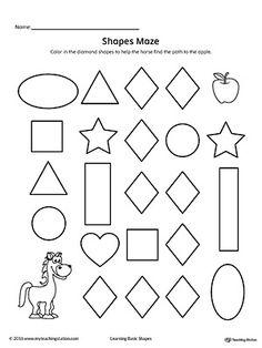 oval shape maze printable worksheet geometric shapes shapes worksheets shapes worksheets. Black Bedroom Furniture Sets. Home Design Ideas