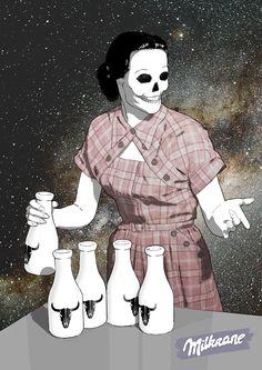Milkrane (by #krane) #skull #milkway Crane, Milk Way, Skull, Anime, Art, Art Background, Kunst, Cartoon Movies, Anime Music