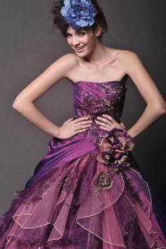 Multi-color Organza ball gown  Style No.: 0bg1546  weddingdreebee . net (no spaces)