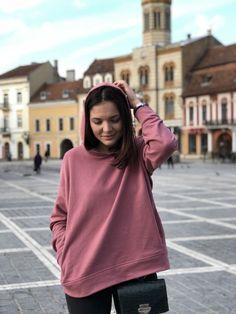 Bluza cu glugă roz