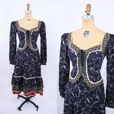 jaren 1970 kleden vintage 70s geruite floral door StorylandVintage