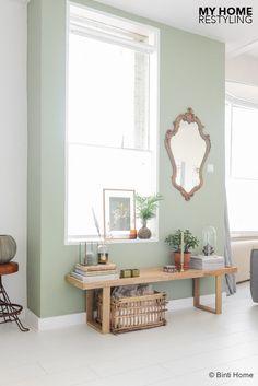 Lange muur langs eettafel en keuken half hoog groen schilderen ipv ...
