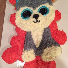 Husky Beanie Boo Cupcake Cake