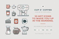 Cup O' Coffee Icon Set by Petr Knoll on Creative Market
