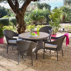 Salon jardin 4 places résine tressée ronde : table 120 cm + 4 ...