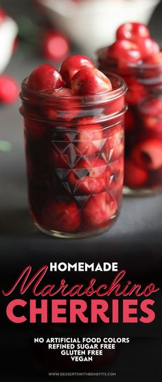 These Healthy Homemade Maraschino Cherries are perfect in drinks like shirley temples and boozy cocktails, on desserts like banana splits, parfaits, and Healthy Vanilla Bean Ice Cream, and even yogurt or parfaits. I made these DIY Maraschino Cherries all natural, fat free, refined sugar free, gluten free, and vegan, but they sure don't taste like it!
