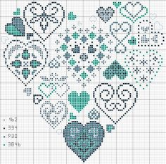heart with symbols cross stitch pattern - use on loom as very large beadwork project or take parts as motifs for smaller pieces #heartbeadwork #loombeading