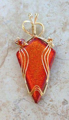Orange Red Wire Wrapped Dichroic Glass Pendant | jewelrybyjorgy - Jewelry on ArtFire