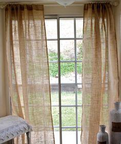 Pair of Burlap Curtain Panel 40x84- shabby chic burlap - cottage beach- rustic curtains