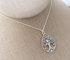 Sterling Silver Tree of Life Necklace, Family Tree Necklace, Stacking Tree of Life Necklace, Mother Grandmother Family Tree Necklace Family Tree Necklace, Tree Of Life Necklace, Tree Of Life Pendant, Pendant Necklace, Chain, Sterling Silver, Cable, Ribbon, Gifts
