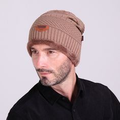 6428929a629 Warm Winter Beanies Man Cap Plus Velvet Stocking Hat Fashion Knitted Hats  For Men Women Black