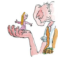 The BFG, illustrated by Quentin Blake, written by Roald Dahl Matilda, Roald Dahl Characters, Quentin Blake Illustrations, Book Illustrations, Roald Dahl Day, Orphan Girl, Bfg, Children's Picture Books, Book Projects
