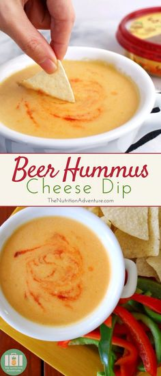 A classic game day dip is taken to the next level with the addition of creamy, garlicky hummus in this Beer Hummus Cheese Dip!