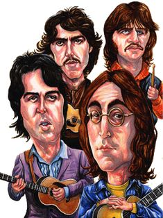 The Beatles, from L-R,Paul, George, Ringo and John. Best Beatles Songs, The Beatles, Beatles Poster, Beatles Art, Funny Caricatures, Celebrity Caricatures, Ringo Starr, Pop Rock, Rock And Roll