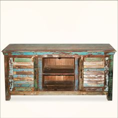 Alachian Rustic Shutter Doors Reclaimed Wood Tv Stand Media Console Painted Furniture