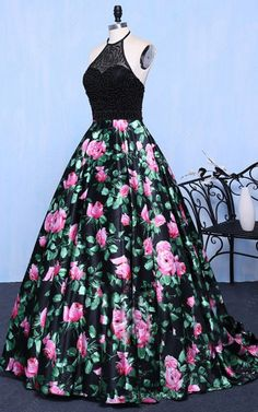 Black Print Ball Gown Halter Satin Tulle Sweep Train Beading Long Prom Dresses