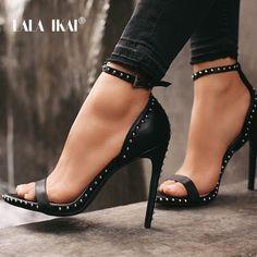 9b4a4df2c LALA IKAI Tornozelo de Couro Das Mulheres Rebite Sapatos De Salto Alto  Sapatos Femininos Sexy Sapatos