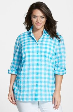 MICHAEL Michael Kors Roll Sleeve Check Plaid Shirt (Plus Size) available at #Nordstrom