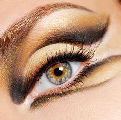 abend make-up professionell gold schwarz