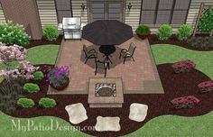 The Concrete Paver Patio Design with Pergola features large circular areas for outdoor dining and fire pit or seating. Layouts, how-to's & material list. Budget Patio, Patio Diy, Small Backyard Patio, Pergola Patio, Backyard Landscaping, Landscaping Ideas, Pergola Screens, Patio Chairs, Patio Wall